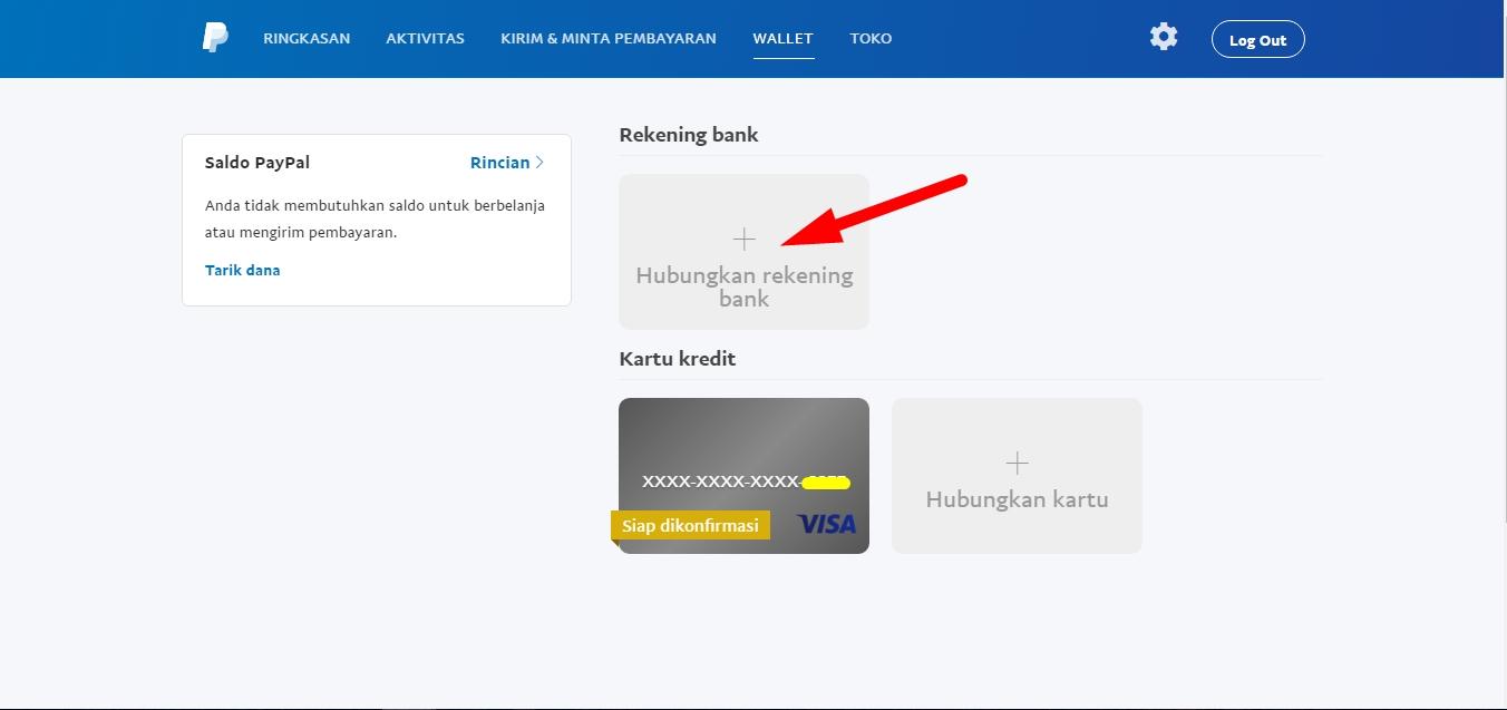 Menambahkan rekening bank ke paypal 2